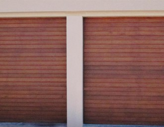 Single Meranti sectional doors (Horizontal, 88mm slats 2)